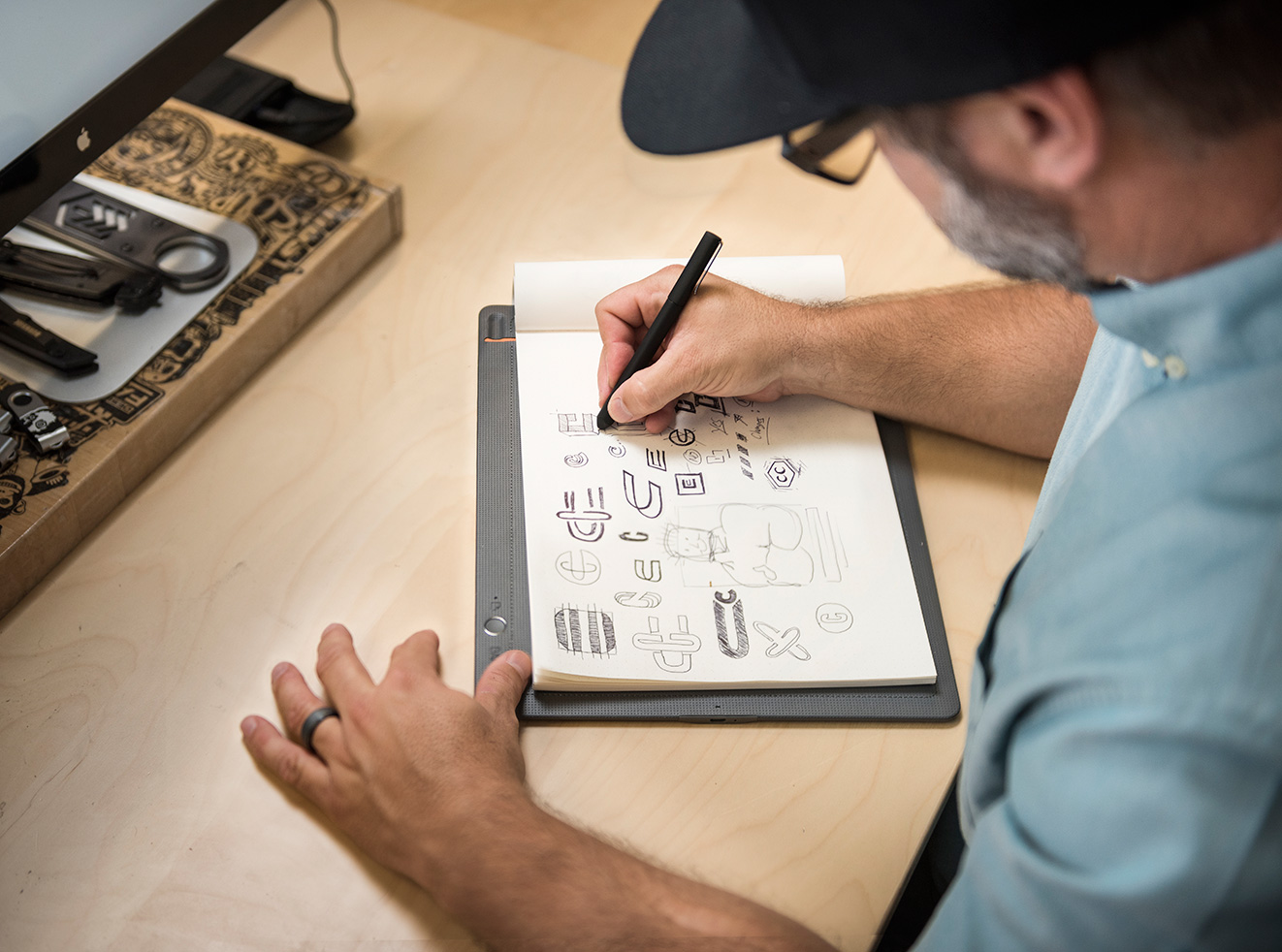 Lincoln Design Co. using Bamboo Slate and an Intuos Pro in their brand design work.